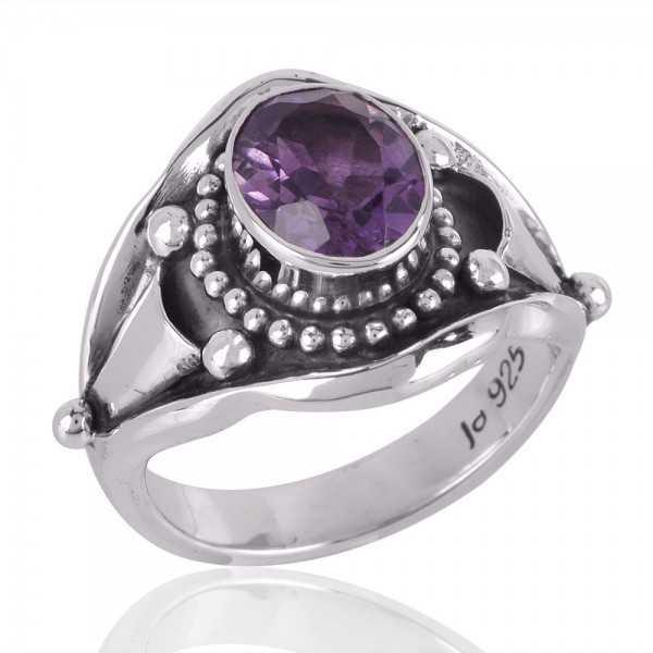 Designer Amethyst Ring Solid Silver