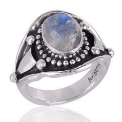 Rainbow Moonstone Cool Ring Sterling Silver Birthstone Ring