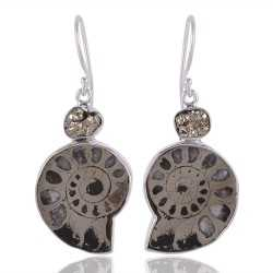 Russian Pyrite Ammonite and Pyrite Silver Dangle Earring