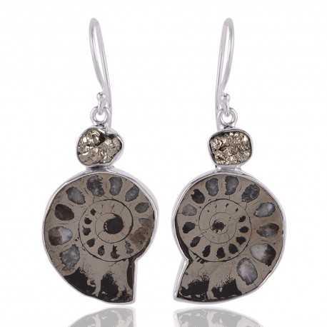Russian Pyrite Ammonite and Pyrite Silver Dangle Earring