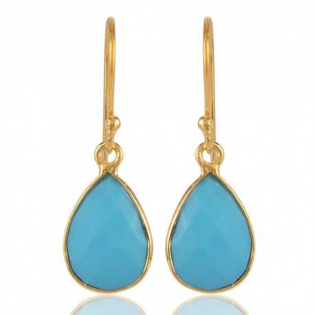 18K Gold Plated Silver Earring with Arizona Turquoise Drop
