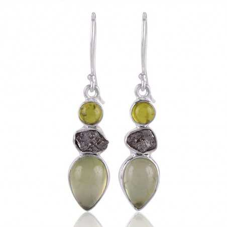 Idocarse Meteorite and Prehnite Silver Dangle Earring