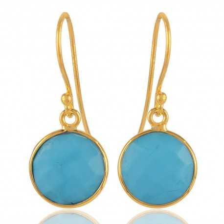 Arizona Turquoise Round Earring 18K Gold Plated Silver