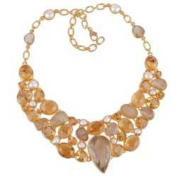 Rutilated Quartz Rutile Citrine and Pearl Gold Plated Silver Yellow Necklace