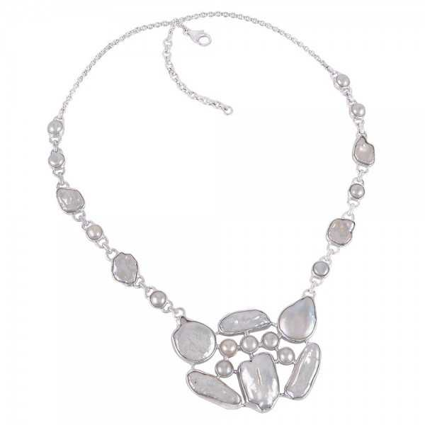 Baroque Pearl Fresh Water Pearl Sterling Silver White Pearl Necklace