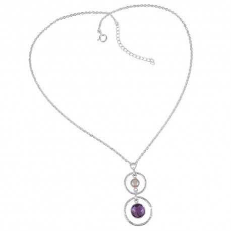 South Sea Pearl Amethyst and Sterling Silver Dangle Necklace