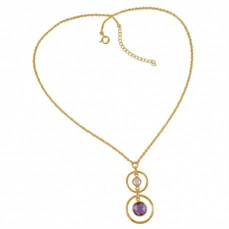 Gold Plated South Sea Pearl Amethyst and Sterling Silver Dangle Necklace