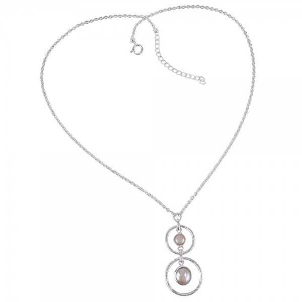 Bewa Pearl and South Sea Pearl Sterling Silver Dangle Necklace
