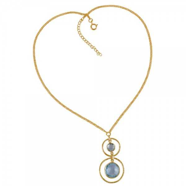 Gold Plated Blue Topaz and Sterling Silver Gemstone Designer Necklace