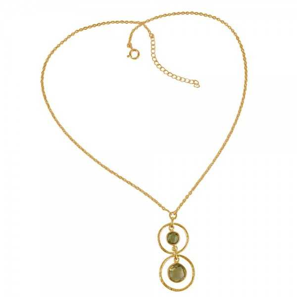Gold Plated Lemon Quartz and Peridot 925 Silver Dangle Neckalce Online Trendy Designer Jewelry