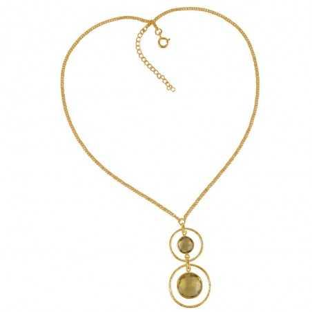 Gold Plated Lemon Quartz and Sterling Silver Drop Dangle Necklace