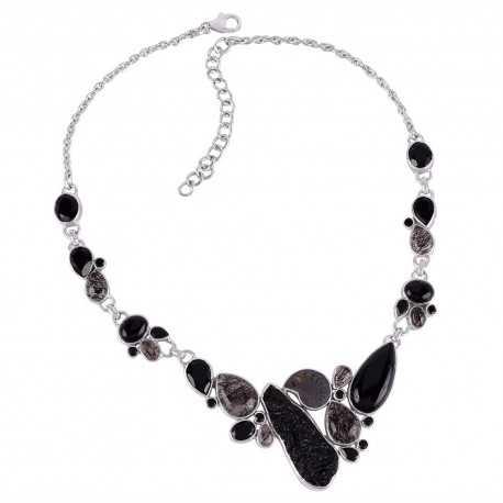 Tektite Rutilated Quartz Rutile Ammonite and Silver Neckalce Black Stone Necklace