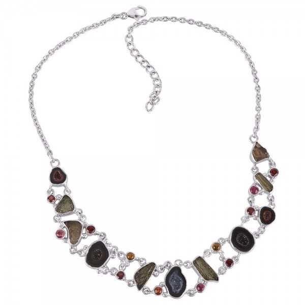 Tobasco Geode Garnet Tourmaline and Moldavite 925 Silver Chocker Necklace