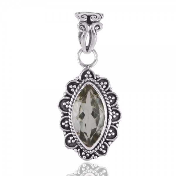 Green Amethyst AKA Prasiolite 925 Silver Designer Pendant Necklace