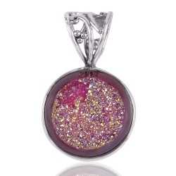Titenium Drusy and Sterling Silver Pendant Locket
