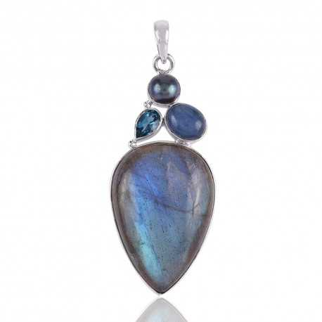 Labradorite Blue Topaz BT Pearl and Kyanite Blue Stone Pendant 925 Silver