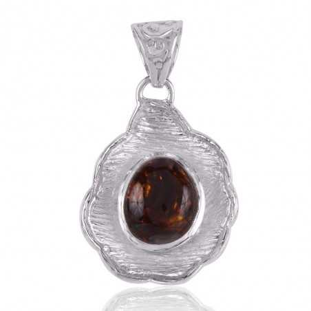 Fire Agate and 925 Silver Designer Lotus Pendant Locket