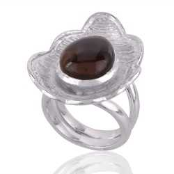 Fire Agate and Sterling Silver Designer Lotus Ring