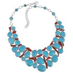 Arizona Turquoise and Coral Stick All Natural Gemstone 925 Sterling Silver Necklace
