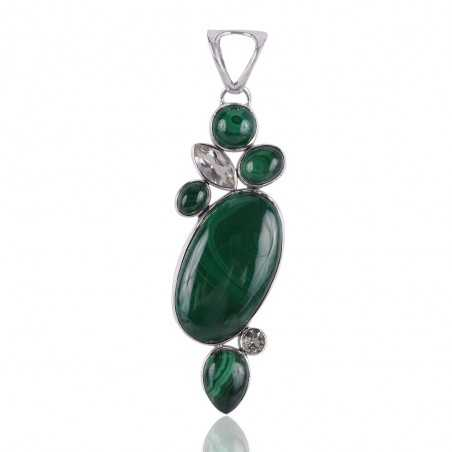 Malachite with Green Amethyst Gemstone Sterling Silver Multi Gemstone Pendant