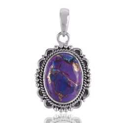 Purple Copper Turquoise Pendant Handmade With 925 Sterling Silver