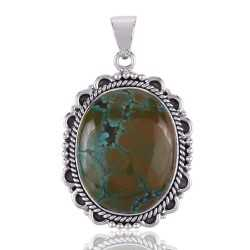 Natural Tibetan Turquoise Handcrafted Sterling Silver Pendant Jewelry