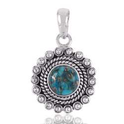 Unique Handmade Design 925 Sterling Silver and Blue Copper Turquoise Pendant