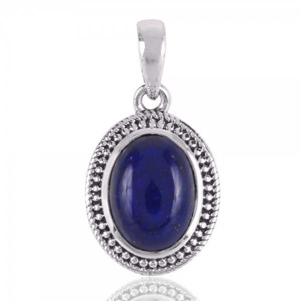 Natural Lazuli Lapis Gemstone Sterling Silver Designer Pendant Jewelry