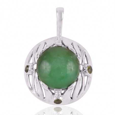 Natural Chrysoprase and Peridot gemstone Pendant with Designer 925 Sterling Silver