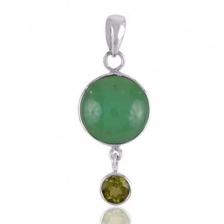 Chrysoprase and Peridot Natural Gemstone 925 Sterling Silver Best Price Pendant