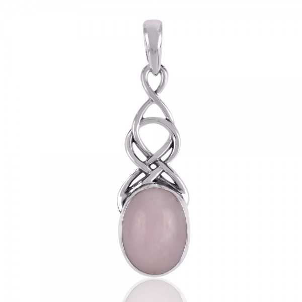 Designer Pendant With 925 Sterling Silver and Natural Pink Opal Gemstone