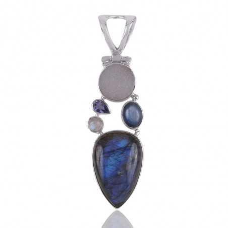 Multi Gemstone Flashy Labradorite, Druze Pendant Handmade 925 Sterling Silver Jewelry