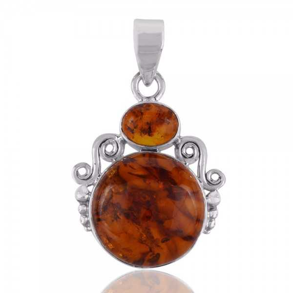 925 Sterling Silver Pendant With Natural Baltic Amber Gemstone