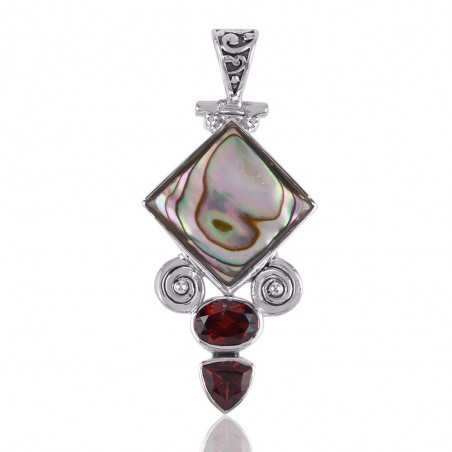 Mother of Pearl with Exotic Combination of Garnet Gemstone and Sterling Silver Pendant