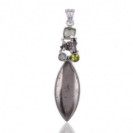 Rare Gemstone Sun Pyrite, Meturite, Green Amethyst and Peridot Multi Gemstone Handmade Pendant