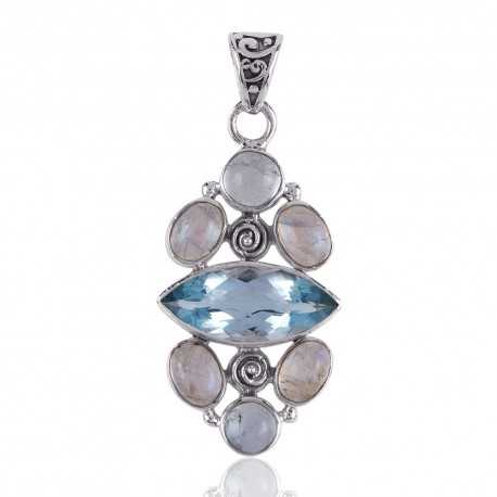 Rainbow Moonstone and Blue Topaz BT 925 Silver Pendant Necklace