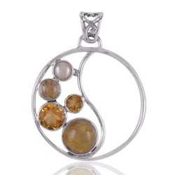 Rutilated Quartz Rutile Pearl and Citrine Gemstone Round Silver Pendant Necklace Locket
