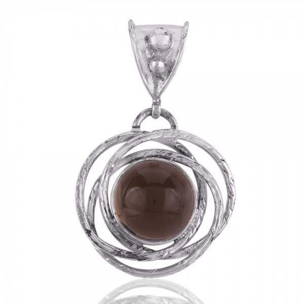 Smoky Quartz Round Gemstone Pendant 925 Silver Smokey Necklace