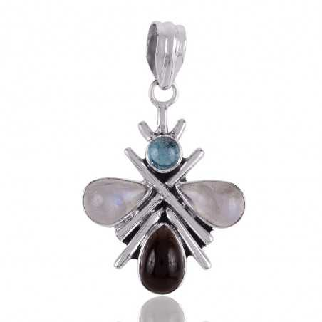 Black Onyx Smoky and Rainbow Moonstone Butterfly Pendant Locket Sterling Silver