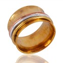 Silver Copper and Brass Mix Metal Three Tone Spinner Ring