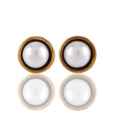 White Pearl Gold Plated Stud Earrings