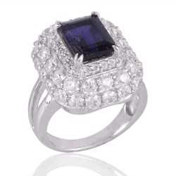 Iolite and Cubic Zircon CZ Silver Engagement Ring