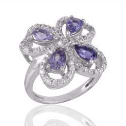 Amethyst and Cubic Zircon CZ Butterfly Solid Silver Engagement Ring