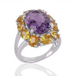 Amethyst and Yellow CZ Designer Silver Cocktail Ring