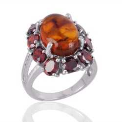 Amber and Garnet Designer Silver Cocktail Ring