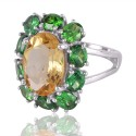 Citrine and Green CZ Designer Silver Cocktail Ring