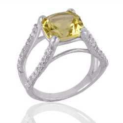 Lemon Quartz and CZ Silver Engagement Ring
