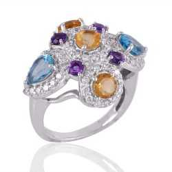 Blue Topaz Citrine Amethyst and CZ Multi Gemstone Silver Cocktail Ring