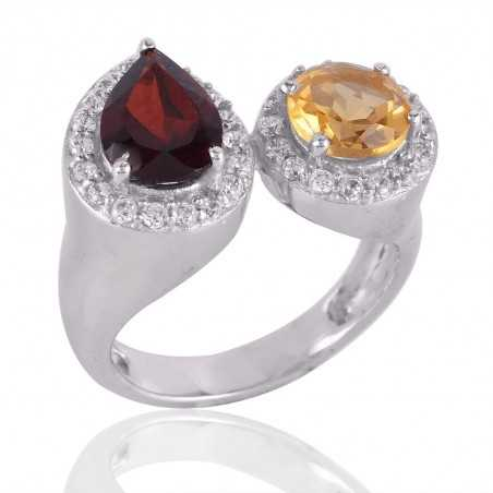 Garnet and Citrine Silver CZ Cocktail Ring