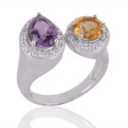 Amethyst and Citrine Silver CZ Cocktail Ring